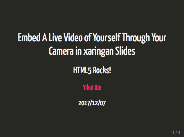 Embed A Live Video of Yourself Through Your Camera in HTML5 Slides