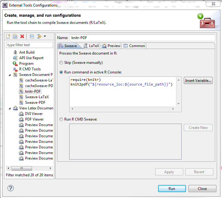 knitr tool chain in Eclipse