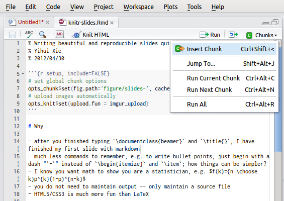 R markdown interface in RStudio