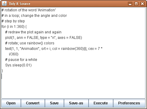 formatR: the Java GUI